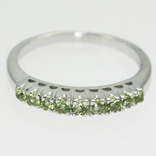 NATURAL GEMSTONE GREEN PERIDOT ROUND 2 MM STERLING SILVER 925 RING SIZE 7.75 US