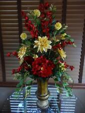 Silk Floral Flower Arrangement Centerpiece Yellow Dahlias Red Hydrangeas