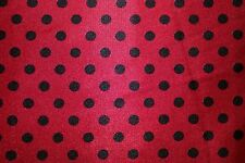 Red Black Polka Dot Stretch Charmeuse Print #7 Apparel Dress Sewing Fabric BTY
