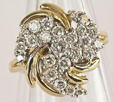 A SOLID 9ct GOLD CREATED DIAMOND FANCY CLUSTER RING SIZE K (US 5.25)