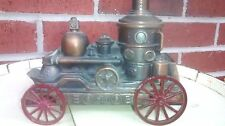 1974 Banthrico Antique Steam Fire Engine Brass Metal Coin Bank