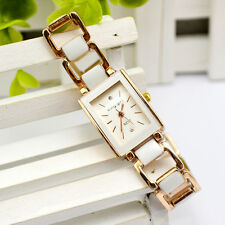Women Ladies Casual Bracelet Gold Stainless Steel Square White Wrist Watch Girl