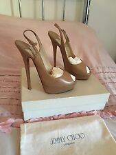 Jimmy Choo Vita Nude Kid Leather Pump Heel Lady Peep Toe Slingback Shoe 38.5 5.5