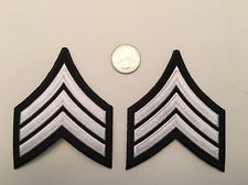 One Pair Sergeant Police Military Security Chevrons Stripes Patch Silver & Black