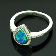 Sterling Silver Cubic Zirconia Micro Pave Set Opalite Ring Size N