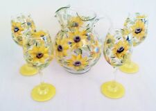 Sunflower Pitcher & 4 Glasses Ice Tea Lemonade Hand Painted by Lia