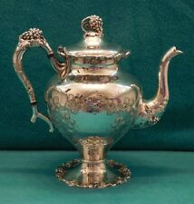 Antique E. G. Webster Silver Plate Teapot Grapes Vines EPC Super Fine Barbour