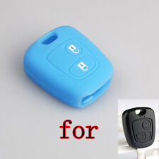 For Peugeot 206 207 307 407 607 Remote Key Shell Blue Silicone Cover 2 BTS
