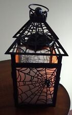 YaNKEE CaNDLE HaLLOWEEN GoTHIC SpIDER WeB LaNTERN TeALIGHT HoLDER WaX WaRMER