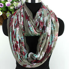 Fashion Graffiti Print Infinity Cowl Circle Casual Scarf Wrap Lady Voile Scarves