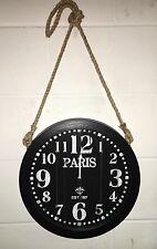 Gran gótico Rústico parisino Cuerda Colgante Negro De Madera Blanca Reloj De Pared Nuevo BNWT
