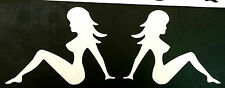 NEW WHITE NUDE NAKED LADY TRUCKER GIRL MUDFLAP DECAL STICKER NAMEPLATE EMBLEM
