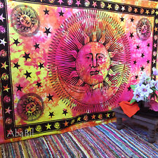 Psychedelic Hippie Twin Sun Moon Tapestries Indian Wall Hanging Tie & Dye Throw