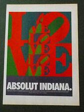 ABSOLUT Robert INDIANA Original Vodka Ad 1996 LOVE DESIGN