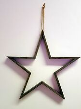 Star Decoration - Large Vintage Style Grey Outline Shape - Wall Hang Christmas