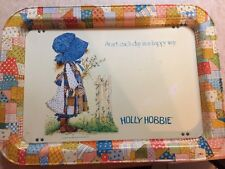 """vintage holly hobbie metal""""start each day in a happy way""""T.V. tray VGC"""