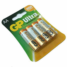 PACK of 4 AA BATTERIES GP ULTRA ALKALINE HIGH POWER 15AU LR6 MN1500 EXPIRY 2022