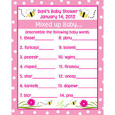 24 Personalized Word Scramble Baby Shower Game Cards -  Mommy To BEE - Bee Baby