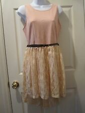 Intro Fashion Trends Women's Spring Lace Sleeveless Dress Pink Size Large w/Belt