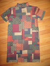 5R/ZARA RARE PENCIL/PATCHWORK/FITTED/SHORT SLEEVE DRESS/WB COLLECTION/SMALL!