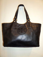 TORY BURCH Large BOMBE BLACK Stacked T Leather Tote Shoulder Bag $495