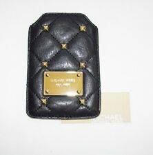 NEW-MICHAEL KORS QUILTED STUDS BLACK LEATHER+GOLD I-PHONE,IPOD SLIP POCKET,CASE
