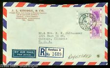 Hong Kong 1954 Registered Cover To Chicago As Shown