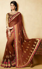 ***NEW Indian Bollywood Party Sari Wedding Shaded Brown Faux Georgette Saree***