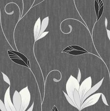 NEW Ebony Black / Silver Glitter- M0783-Synergy Floral Textured Vymura Wallpaper