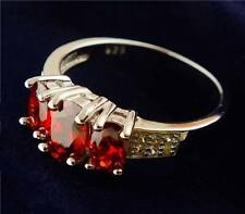 Ladies Ring – in 925 Sterling Silver with Three Red Garnet Color Gemstones  9