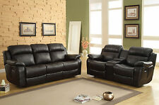 ROWLAND - Faux Leather Reclining Sofa Couch & Loveseat Set Living Room Furniture