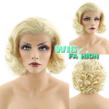 """10"""" Heat Resistant Short Curly Mixed Golden Blonde Lace Front Synthetic Wig"""