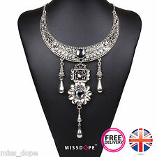 NEW Silver Antique Vintage Drop Statement Necklace Indian Choker Womens Ladies