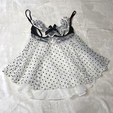 Victoria's Secret Lingerie Lace Cream Babydoll with Black Polka Dots Size 36B