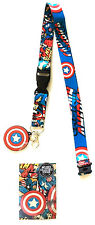 MARVEL COMICS CAPTAIN AMERICA LOGO RUBBER CHARM LANYARD BADGE ID HOLDER KEYCHAIN