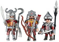 Playmobil 3 Red Dragon Knights -Archer Soldiers Spear Helmet Army NEW Custom Lot