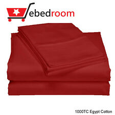 Queen Size Bed 1000TC 100% Cotton Fitted & flat & Pillowcase Sheets Set - RED