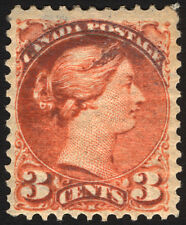Canada #37 3c Orange Red 1873 Queen Victoria VF *MLH*