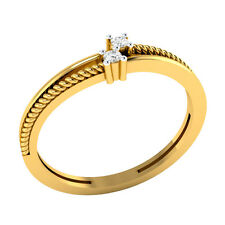 14k Solid Yellow Gold 0.03 ct 100% Certified Natural Diamond Ring Sizable