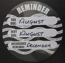 Road Tax, MOT and Insurance Due reminder windscreen sticker 10 sets (169-01-20)
