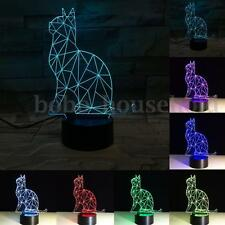 7 Color Changing 3D Cat Visual Night Lights LED Touch Switch USB Table Lamp Gift
