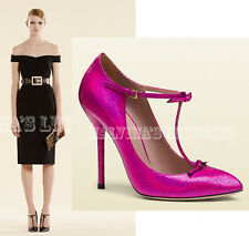 $695 GUCCI SHOES FUCHSIA CRACKLED METALLIC LEATHER KNOTTED BOW sz 38 / 8