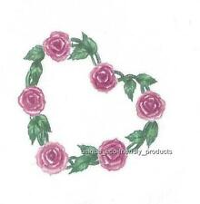 HEART SHAPED VINE WITH PINK ROSES AND LEAVES Temporary Tattoo small size