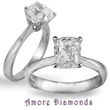 1.05 ct GIA E SI2 natural cushion damond solitaire engagement ring platinum