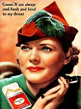 ADVERT CIGARETTES SMOKING TOBACCO GIRL SMOKE HAT PACKET UK POSTER PRINT LV093