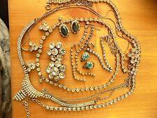 JOB LOT VINTAGE STRASS gioielli per la riparazione o la raccolta di ricambio Crafts ecc.