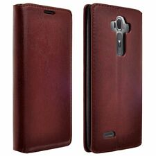 Brown Fold Leather Bill Credit Card Wallet Case Flip Pouch For LG LS770 G Stylo