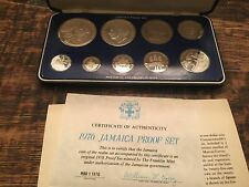 1976 Jamaica 9-Coin Proof Set ,Franklin Mint * Sterling Silver, 500 Ag, Coa