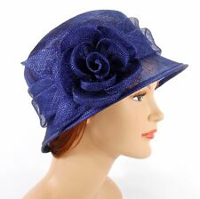 New Woman Church Derby Wedding Sinamay  Ascot Cloche Dress Hat 2931 Navy