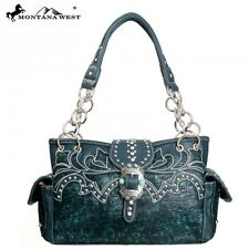 MONTANA WEST TURQUOISE BUCKLE WESTERN BLING RHINESTONE PURSE SHOULDER BAG BLUE